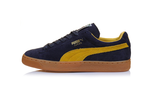 puma suede black and yellow