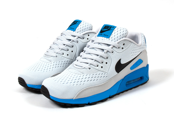 Nike Air Max 90 Premium Comfort EM Pure Platinum Black Blue Hero