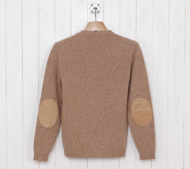 Cottonopolis-Elbow-Patch-Crew-Knit-Beige-Marl-£99-2