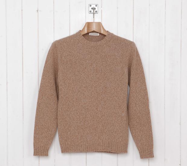 Cottonopolis-Elbow-Patch-Crew-Knit-Beige-Marl-£99