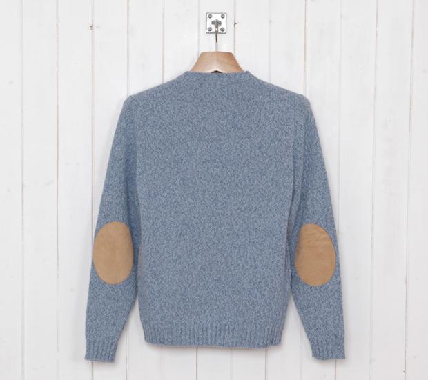 Cottonopolis-Elbow-Patch-Crew-Knit-Blue-Marl-£99-2