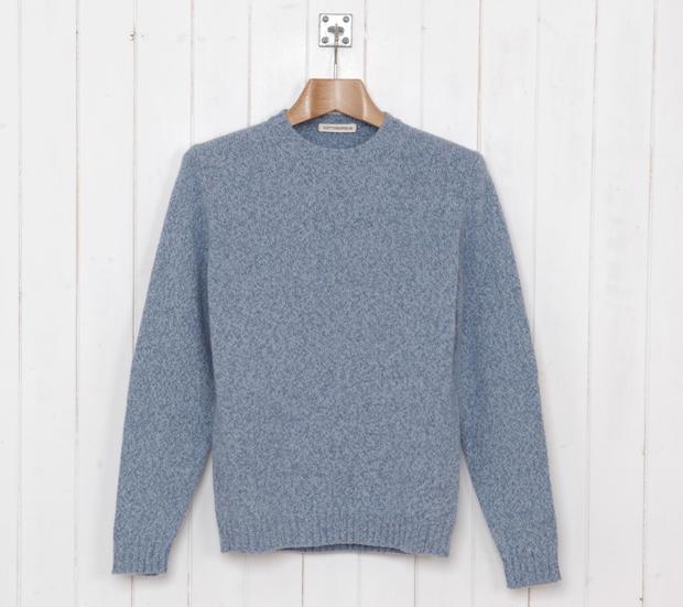 Cottonopolis-Elbow-Patch-Crew-Knit-Blue-Marl-£99